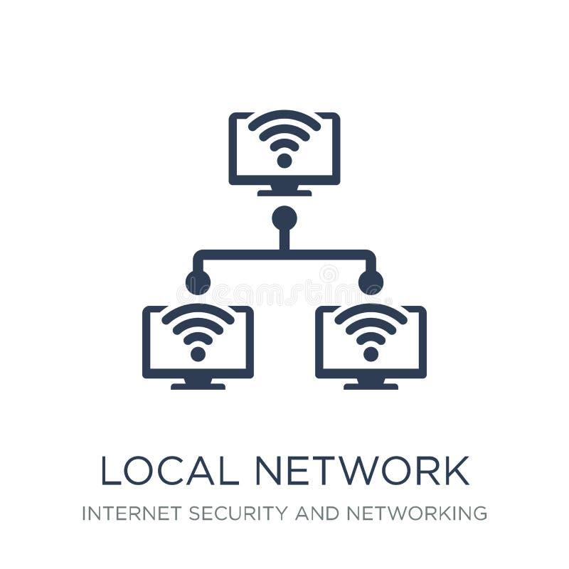 Ícone da rede local Ícone liso na moda da rede local do vetor no whi ilustração stock