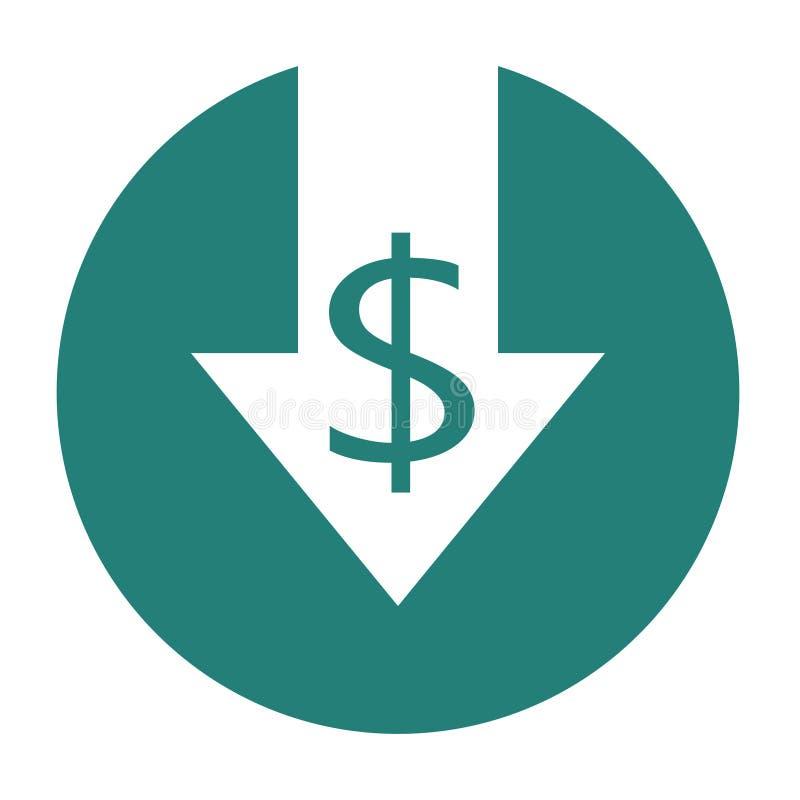 Ícone da redução de custo ilustração stock