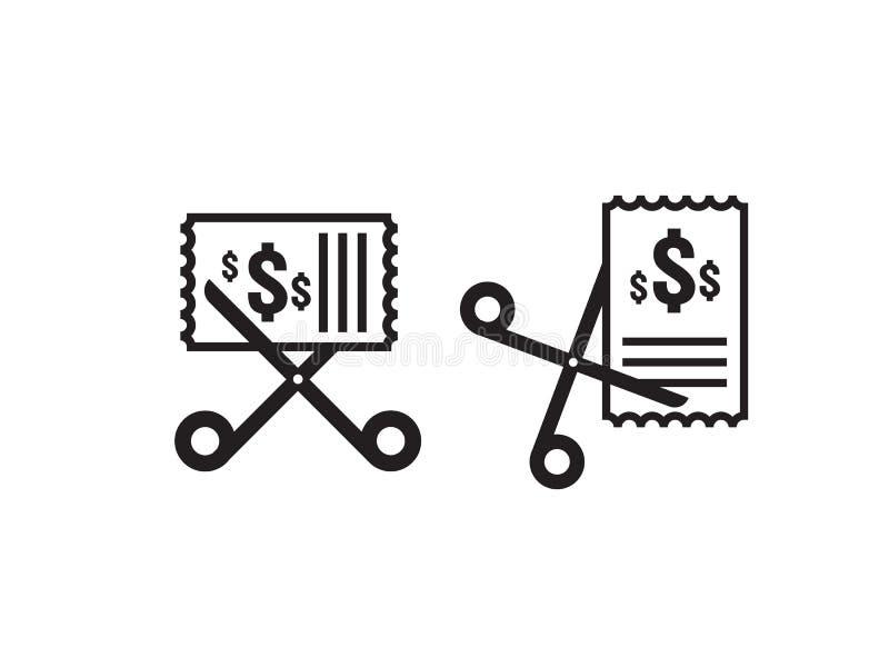 Ícone da redução de custo do negócio Símbolo da diminuição do dólar do dinheiro As tesouras cortam o ícone do vale dos discontos  ilustração stock