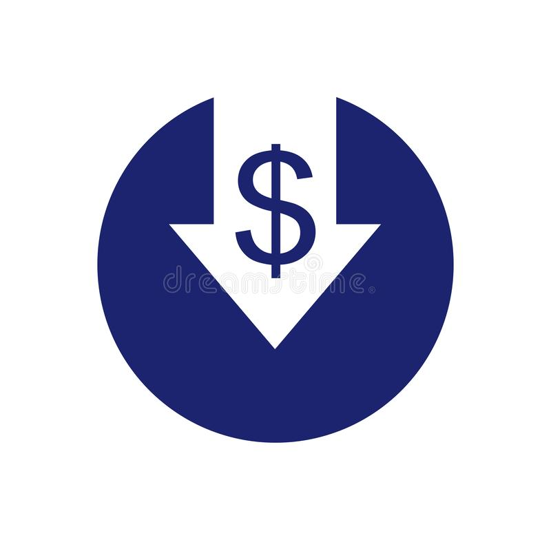 Ícone da redução de custo Ilustração do vetor isolada no fundo branco para a Web, as cópias e apps móveis ilustração do vetor