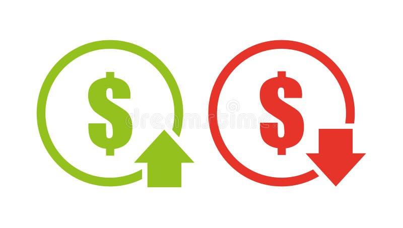 Ícone da redução de custo ilustração royalty free