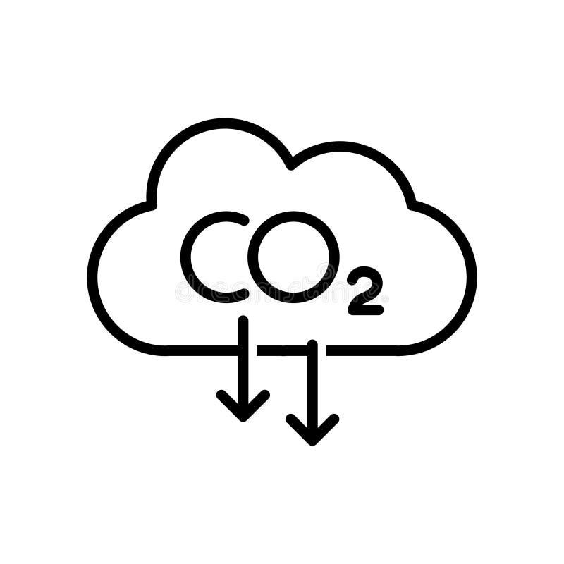 Ícone da redução de emissões do carbono em um fundo branco ilustração stock