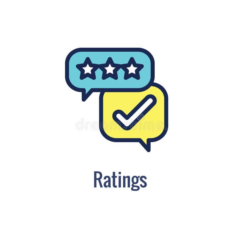 Ícone da referência de trabalho da referência com recomendações, avaliação dos resultados, ideias etc. ilustração royalty free
