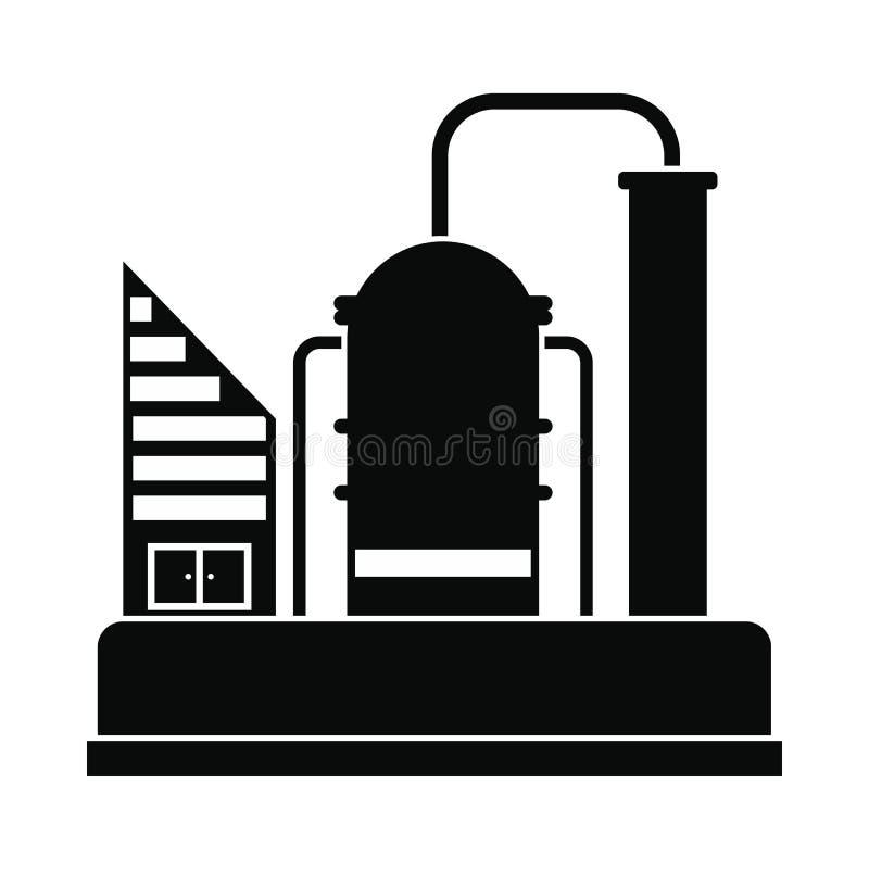 Ícone da refinaria de petróleo ou do central química ilustração do vetor