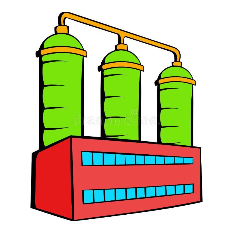 Ícone da refinaria de petróleo ou do central química, desenhos animados do ícone ilustração stock