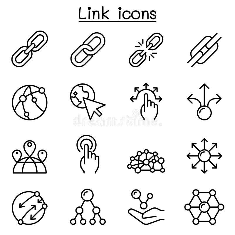 Ícone da relação ajustado na linha estilo fina ilustração stock