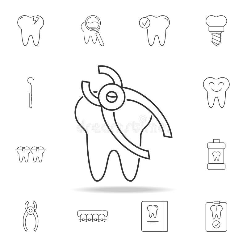ícone da remoção do dente Grupo detalhado de linha dental ícones do esboço Ícone superior do projeto gráfico da qualidade Um dos  fotos de stock