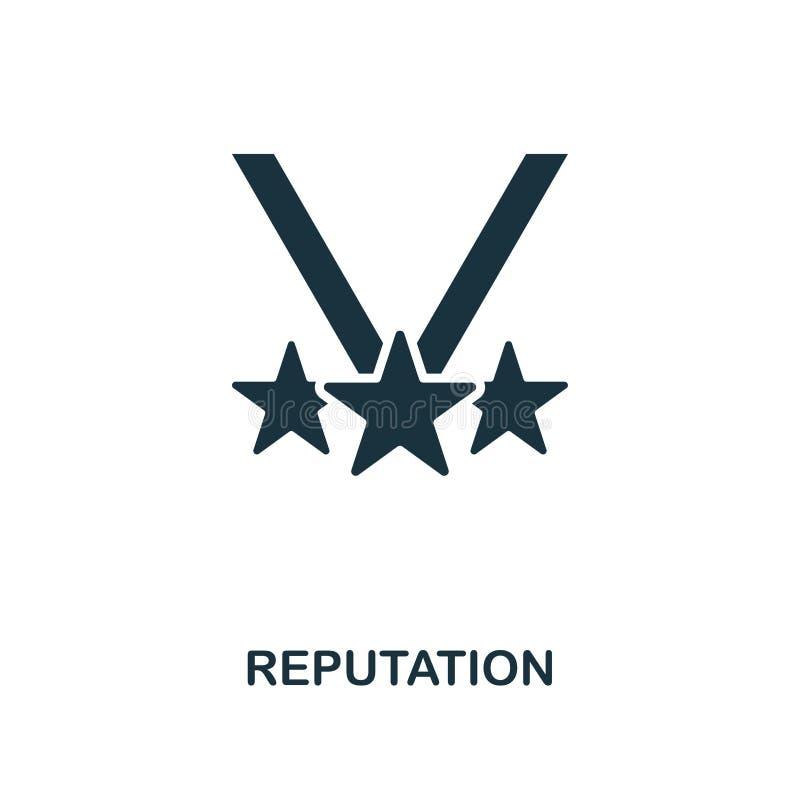Ícone da reputação Projeto monocromático do estilo da coleção do ícone da gestão Ui Ícone simples perfeito da reputação do pictog ilustração royalty free