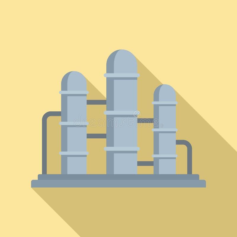 Ícone da reserva da refinaria de petróleo, estilo liso ilustração do vetor