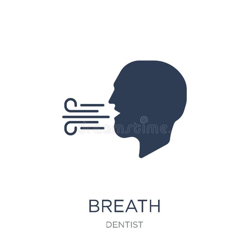 Ícone da respiração Ícone liso na moda da respiração do vetor no fundo branco ilustração royalty free