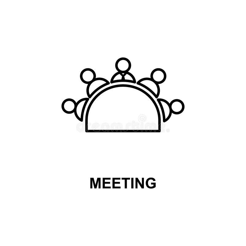 ícone da reunião de mesa redonda Elemento da conferência com ícone da descrição para apps móveis do conceito e da Web Reunião de  ilustração stock