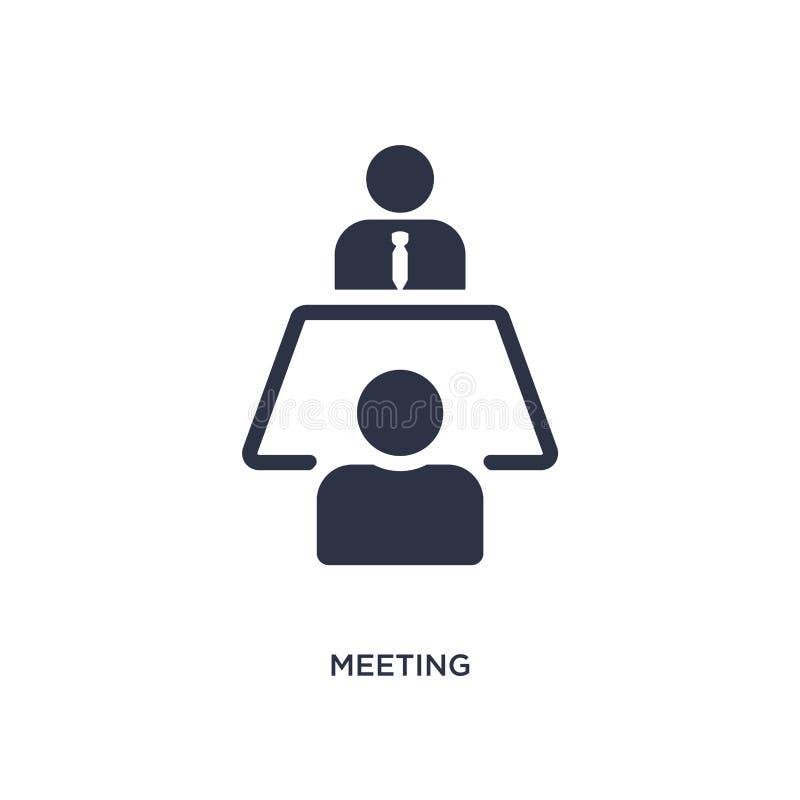 Ícone da reunião no fundo branco Ilustração simples do elemento do conceito da estratégia ilustração stock