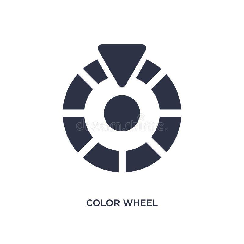 ícone da roda de cor no fundo branco Ilustração simples do elemento do conceito da geometria ilustração royalty free