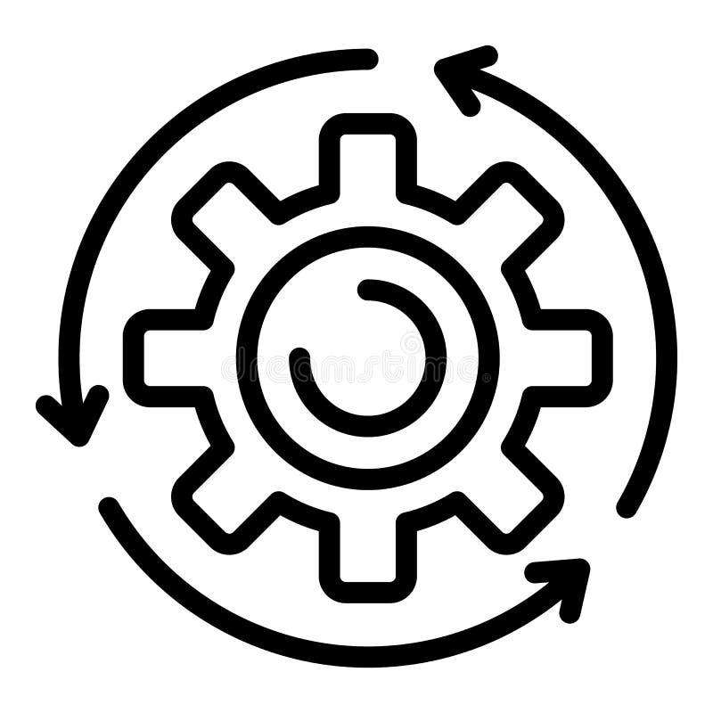 Ícone da roda de engrenagem do conjunto, estilo do esboço ilustração royalty free