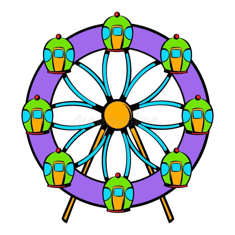 Ícone da roda de Ferris, desenhos animados do ícone ilustração do vetor