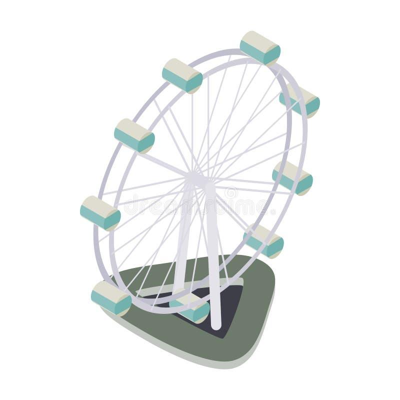 Ícone da roda de Ferris, estilo 3d isométrico ilustração stock