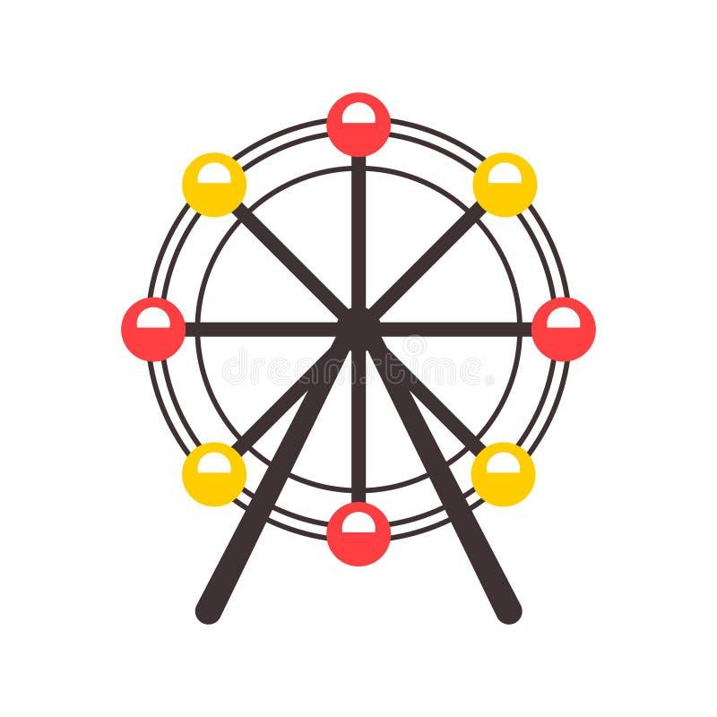 Ícone da roda de Ferris no estilo dos desenhos animados isolado no fundo branco Ilustração do vetor do símbolo da atração ilustração royalty free