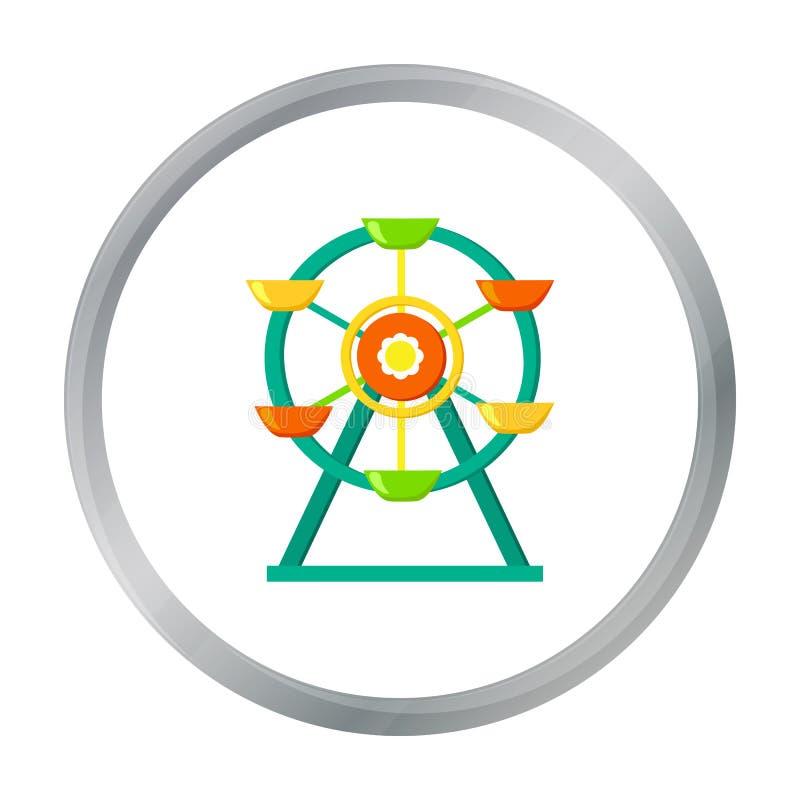 Ícone da roda de Ferris no estilo dos desenhos animados isolado no fundo branco Símbolo do jardim do jogo ilustração do vetor