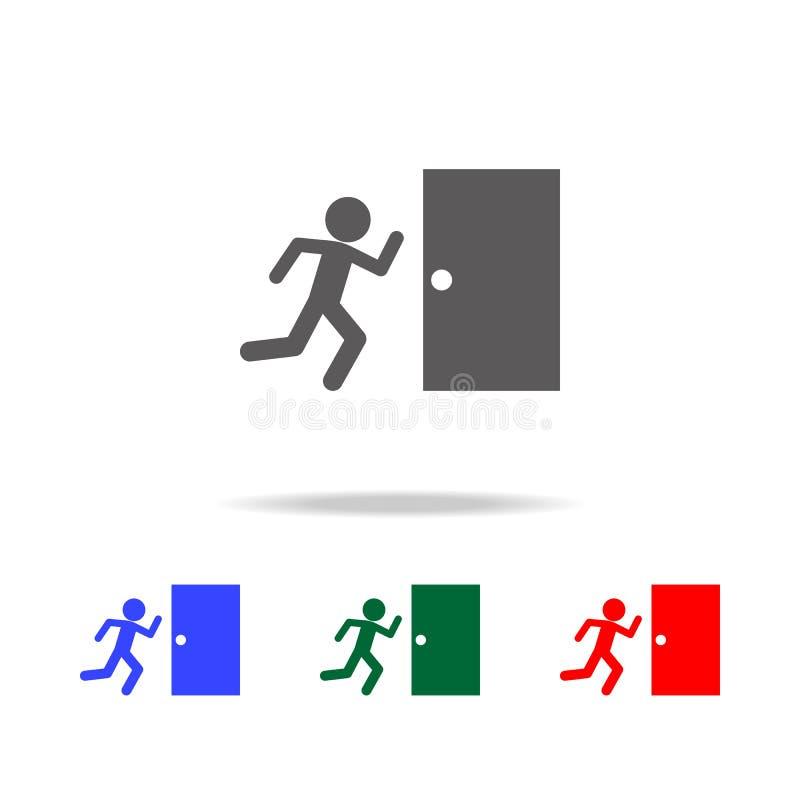 Ícone da saída de emergência Elementos do bombeiro em multi ícones coloridos Ícone superior do projeto gráfico da qualidade Ícone ilustração royalty free