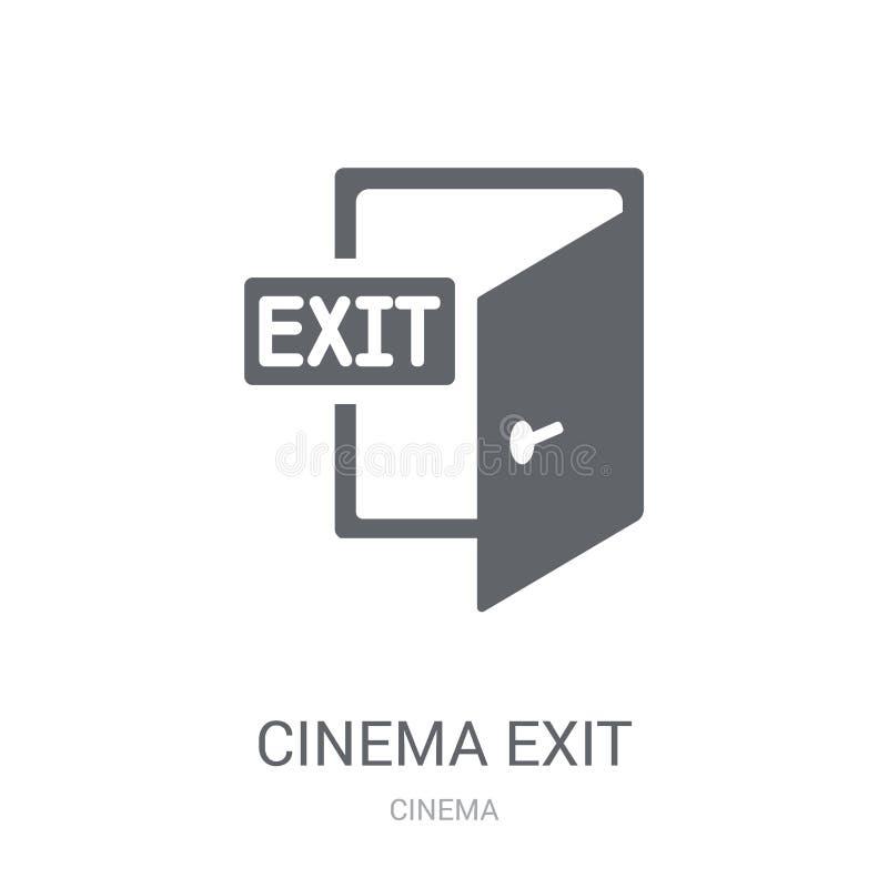 Ícone da saída do cinema Conceito na moda do logotipo da saída do cinema no backg branco ilustração do vetor