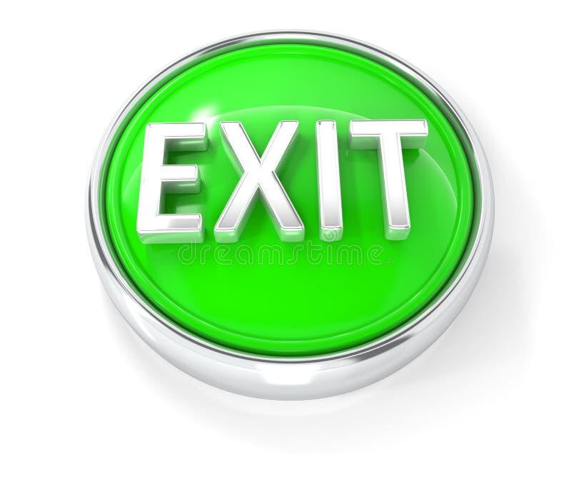 Ícone da saída no botão redondo verde lustroso ilustração stock