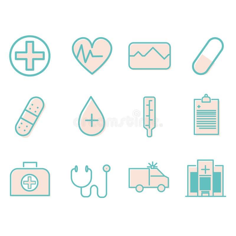 Ícone da saúde ajustado com ícone simples ilustração do vetor