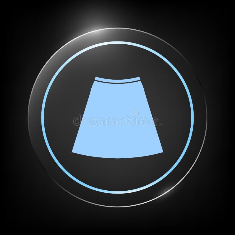 Ícone da saia, a silhueta Item de menu no design web ilustração royalty free