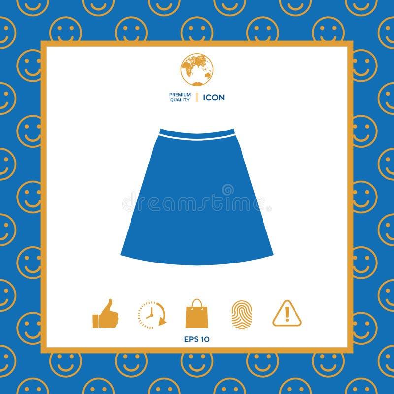 Ícone da saia, a silhueta Item de menu no design web ilustração stock