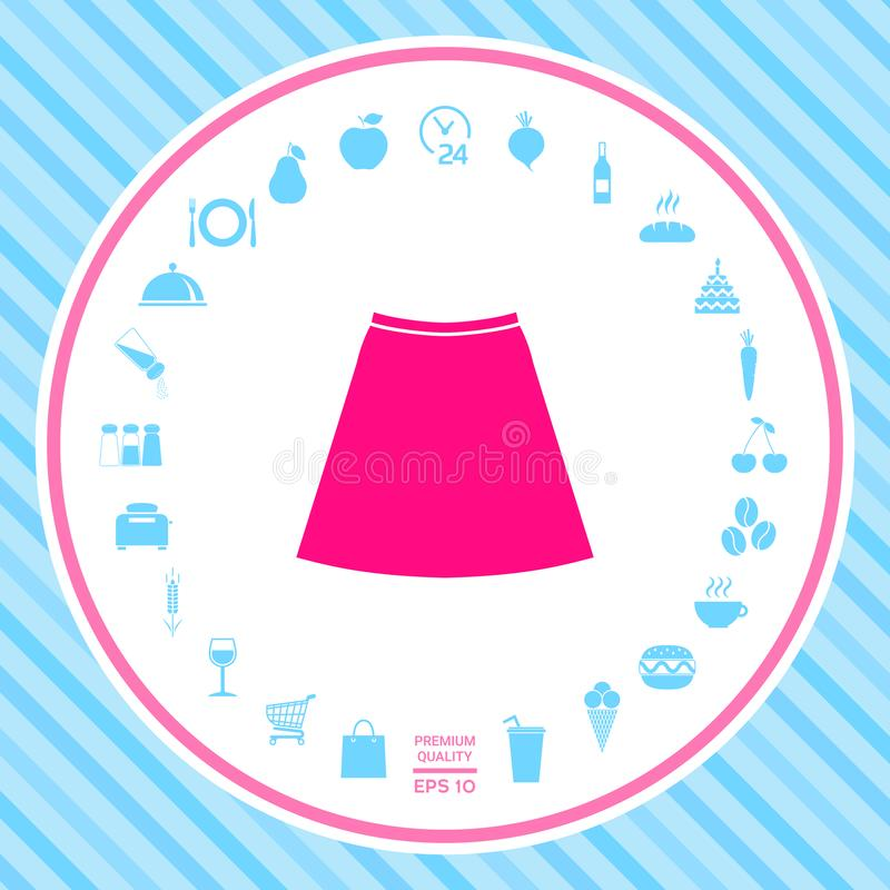 Ícone da saia, a silhueta Item de menu no design web ilustração do vetor