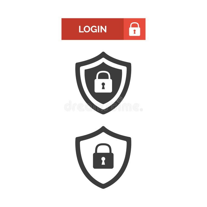 Ícone da segurança do botão e do protetor do início de uma sessão ilustração royalty free