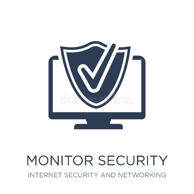 Ícone da segurança do monitor Ícone liso na moda da segurança do monitor do vetor ilustração do vetor