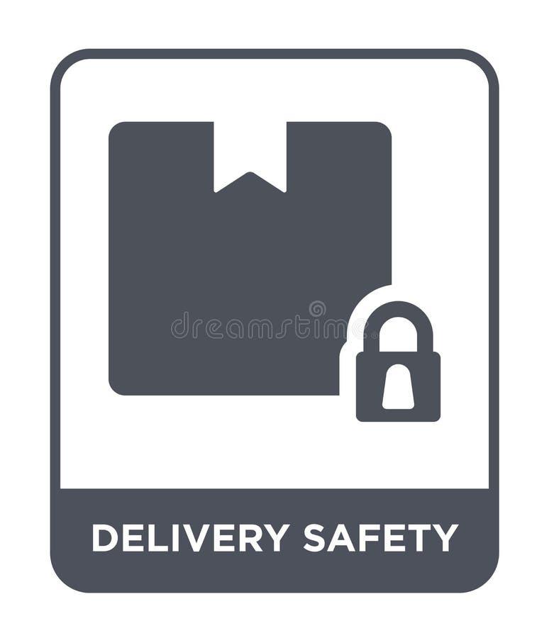 ícone da segurança da entrega no estilo na moda do projeto ícone da segurança da entrega isolado no fundo branco ícone do vetor d ilustração royalty free