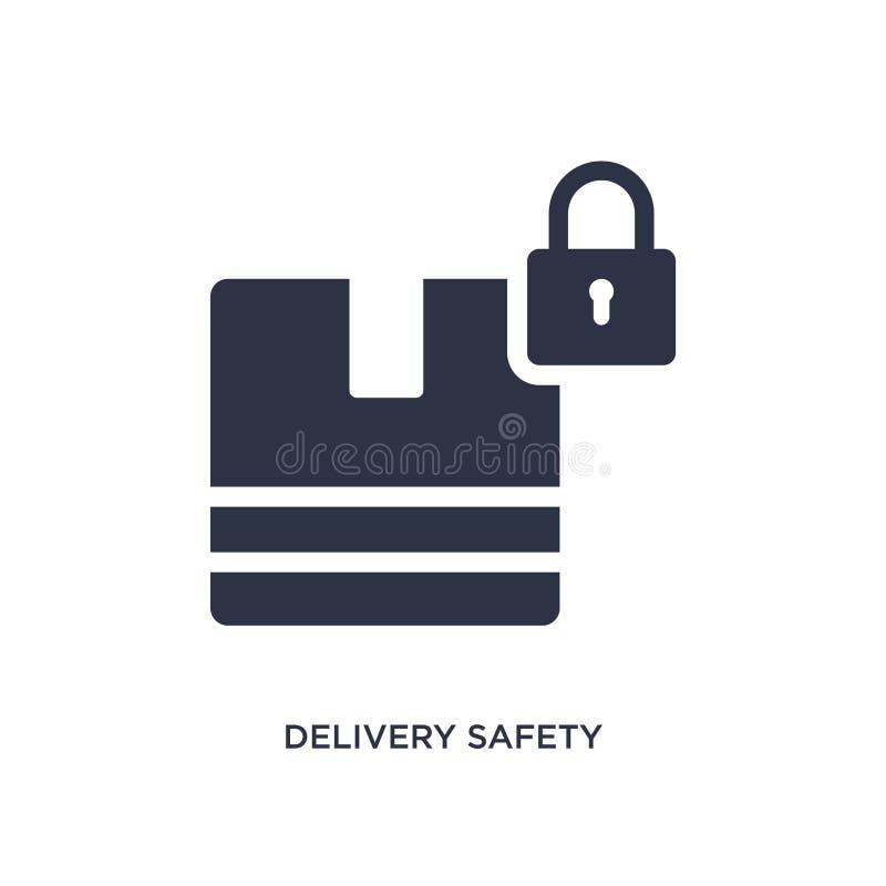 ícone da segurança da entrega no fundo branco Ilustração simples do elemento do conceito da entrega e da logística ilustração do vetor