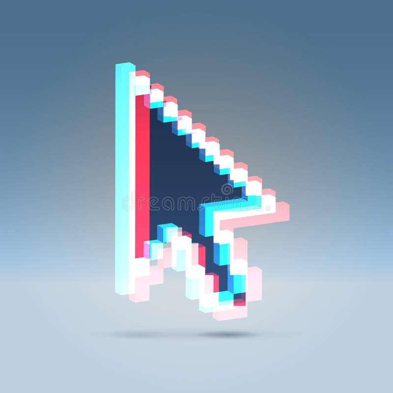 ícone da seta do efeito 3d estereofónico ilustração stock