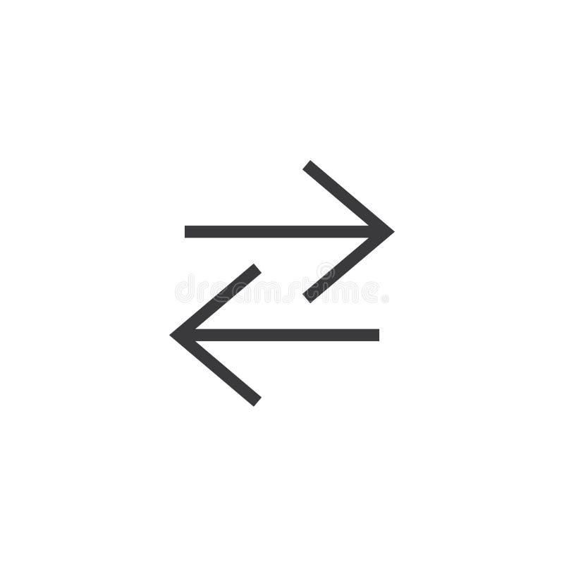 Ícone da seta pixel perfeito isolado com estilo liso no fundo branco para UI, app, site, logotipo Ilustração do vetor ilustração stock