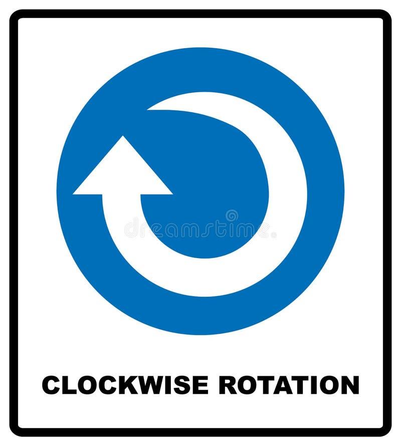 Ícone da seta da rotação sentido horário Símbolo imperativo azul Ilustração do vetor isolada no branco Pictograma simples branco  ilustração royalty free