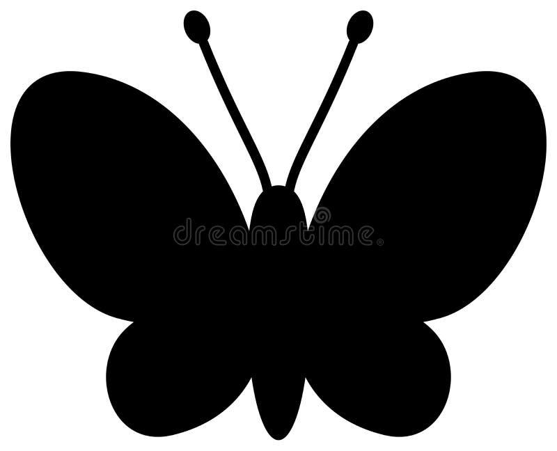 Ícone da silhueta da borboleta Cor preta ilustração stock