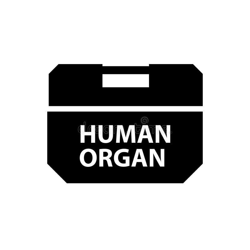 Ícone da silhueta da caixa do refrigerador do órgão humano ilustração do vetor