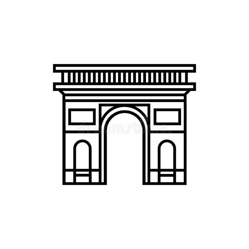Ícone da silhueta de um arco triunfal no vetor de Paris França ilustração stock