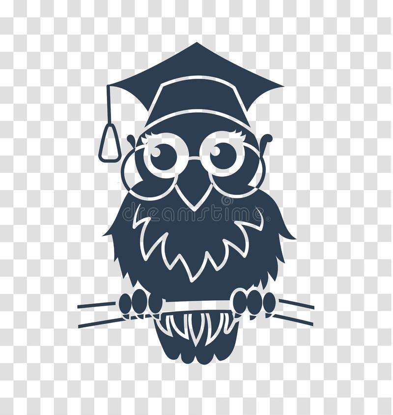 Ícone da silhueta de volta à coruja da escola ilustração do vetor