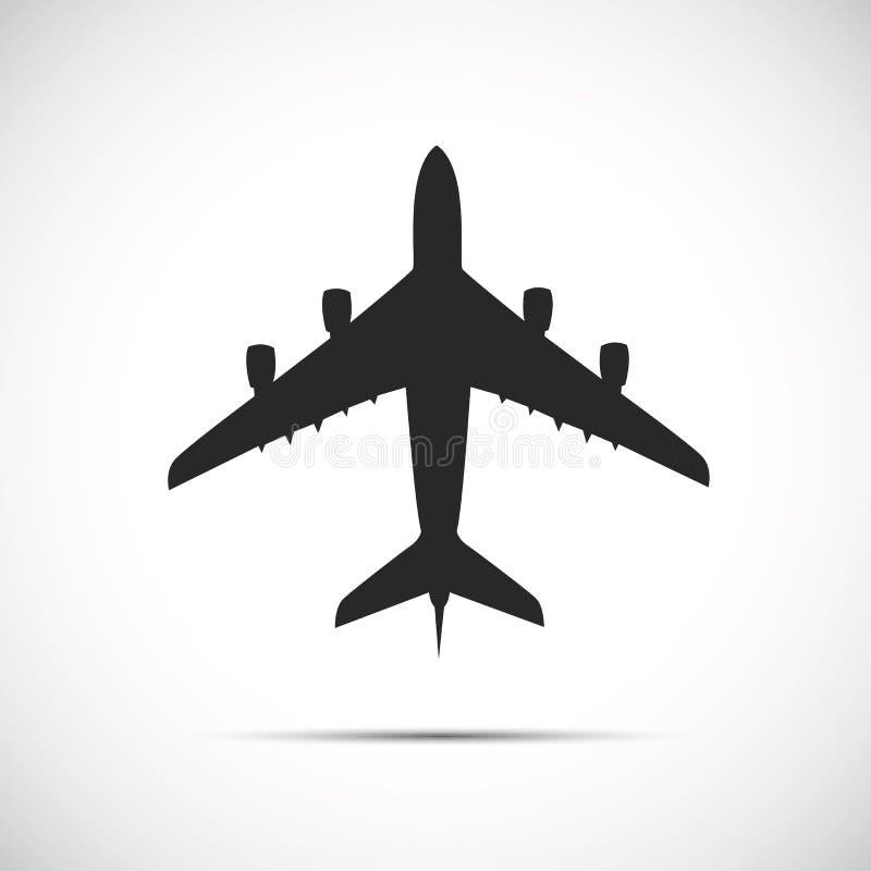 Ícone da silhueta do avião do passageiro ilustração do vetor