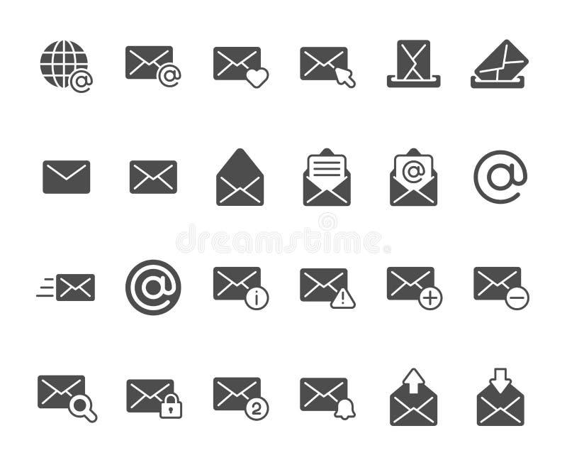 Ícone da silhueta do envelope do correio Mensagens do inbox do e-mail, caixa postal do escritório e emissão do grupo dos ícones d ilustração do vetor