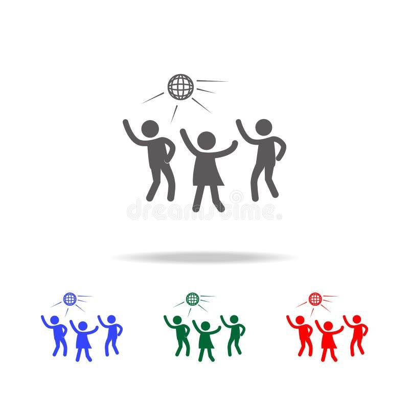 Ícone da silhueta do partido de disco Elementos do disco e ícones coloridos da vida noturna de multi Ícone superior do projeto gr ilustração stock