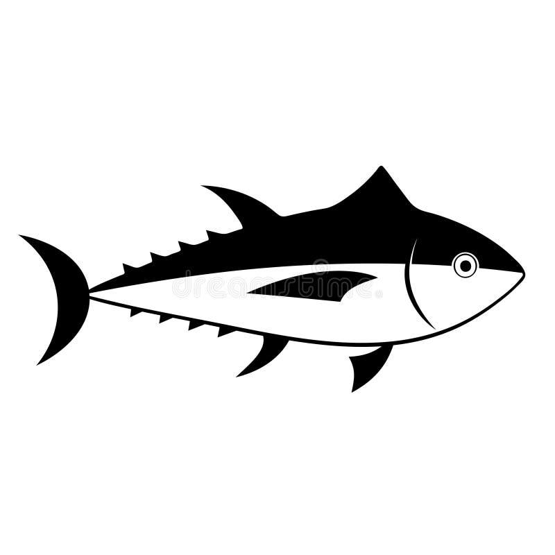 Ícone da silhueta dos peixes de atum ilustração do vetor