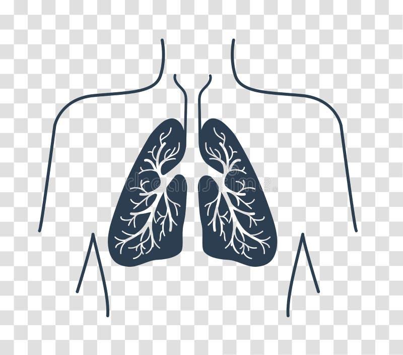 Ícone da silhueta dos pulmões humanos ilustração royalty free