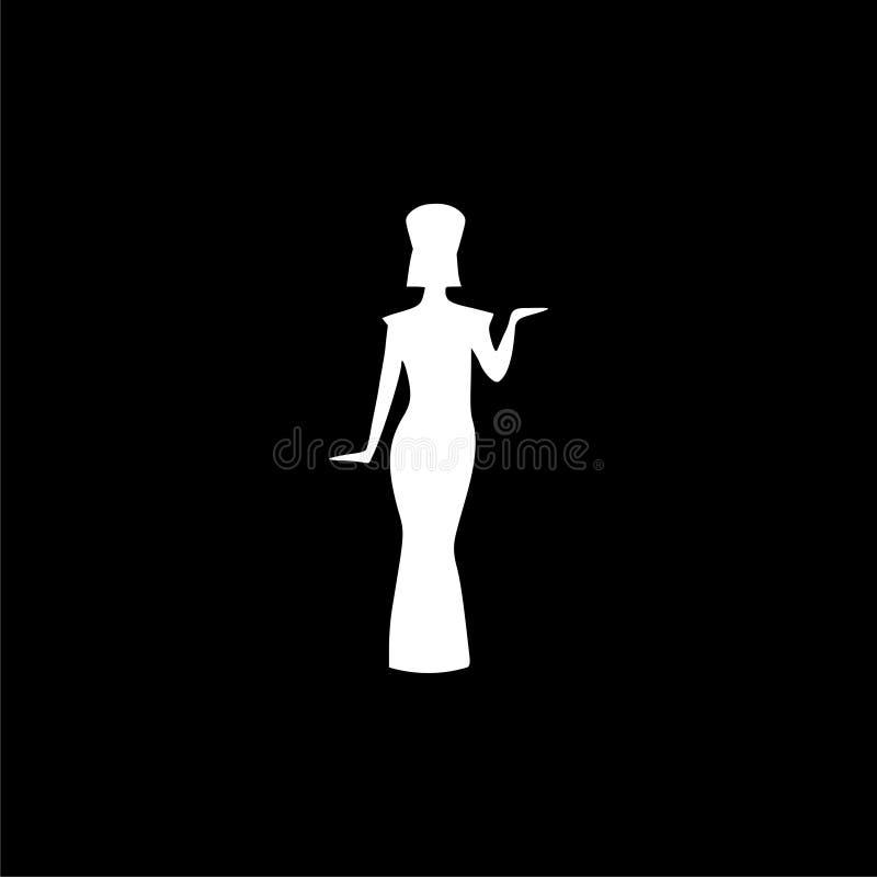 Ícone da silhueta ou logotipo egípcio, rainha Nefertiti, silhueta de Cleopatra no fundo escuro ilustração do vetor