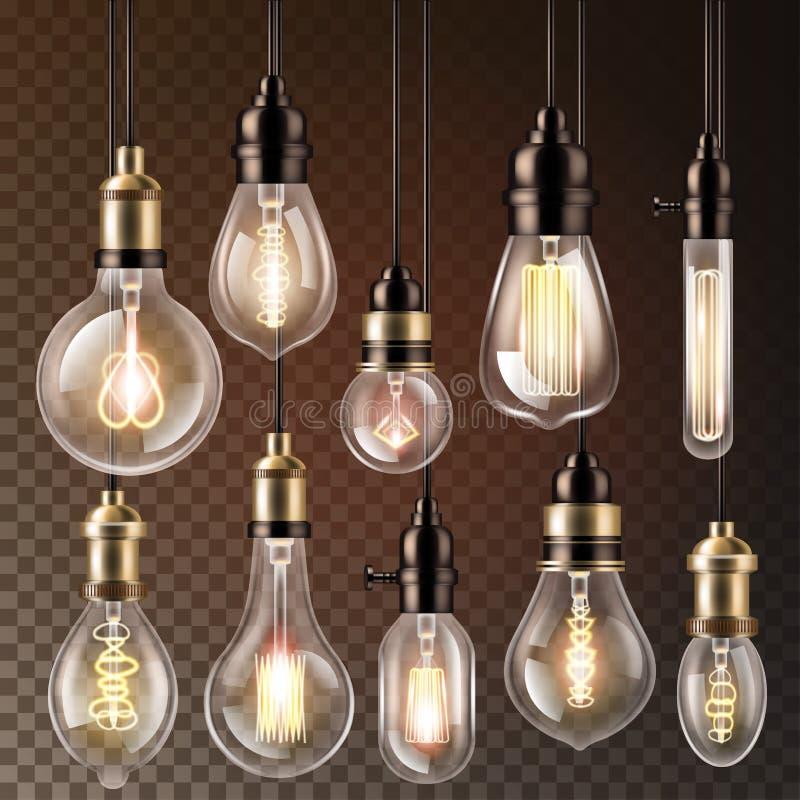 Ícone da solução da ideia da ampola do vetor da ampola e cfl da lâmpada da iluminação elétrica ou luz conduzida do eletricidade e ilustração royalty free