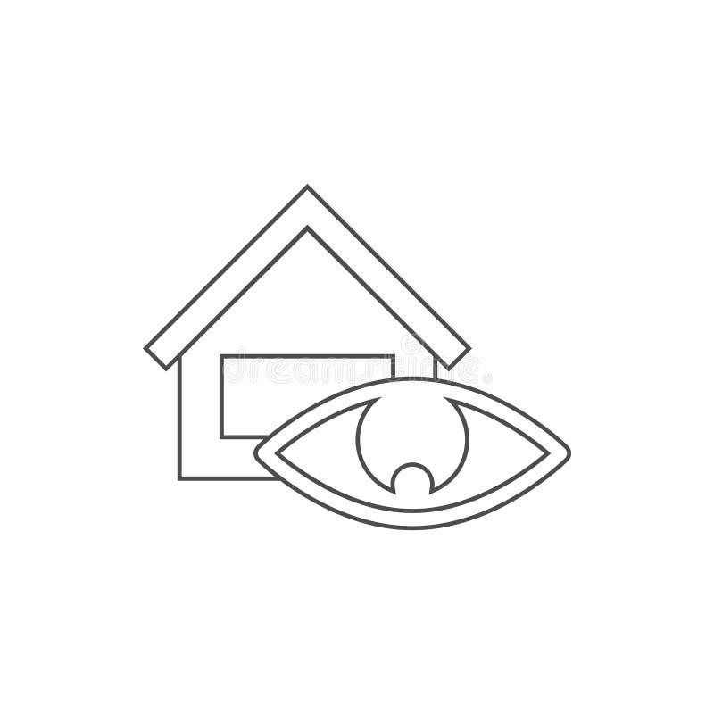 ícone da supervisão da casa Elemento da Web para o conceito e o ícone móveis dos apps da Web Linha fina ícone para o projeto e o  ilustração royalty free
