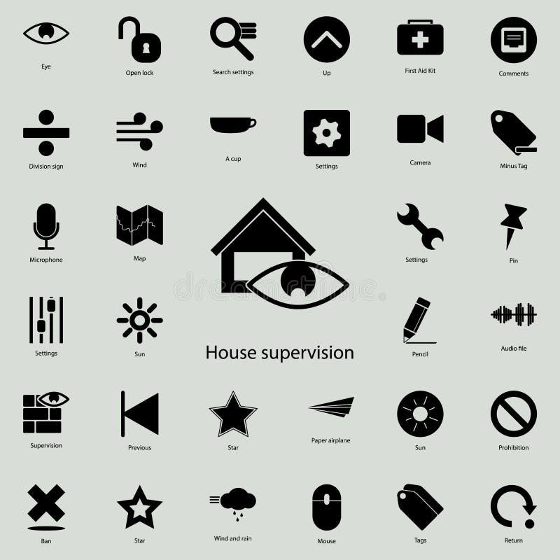 ícone da supervisão da casa Grupo detalhado de ícones minimalistic Projeto gráfico superior Um dos ícones da coleção para Web sit ilustração stock