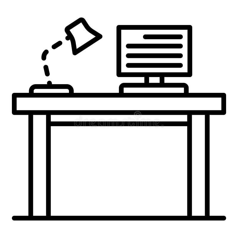 Ícone da tabela dos trabalhos de casa do PC, estilo do esboço ilustração do vetor